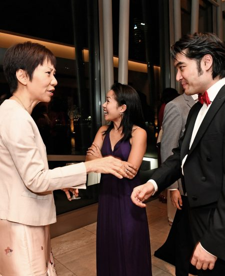 Minister Grace Fu chats with Darrell Ang, conductor for the National Day programme