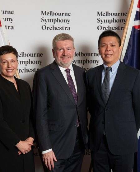 Ms Sophie Galaise, Managing Director, Melbourne Symphony Orchestra; the Honourable Mitch Fifield, Minister for Communications and the Arts, Australia; and Mr Chng Hak-Peng, CEO of the Singapore Symphony Group. (Photo Credit: Tim O'Connor)