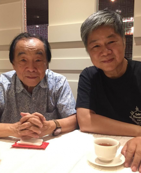With maestro Choo Hoey (left) when they caught up in Singapore in 2019; Choo had returned to Singapore to celebrate its 40th anniversary by leading an SSO concert.