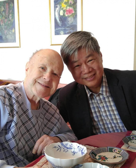 Mr Han with the renowned late Gerd Seifert, who was Horn Principal at the Berlin Philharmonic for 35 years.