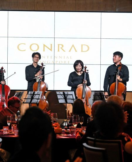 [L -R] SSO cellists Guo Hao (Fixed Chair), Ng Pei Sian (Principal), Wang Yan and Wang Zihao