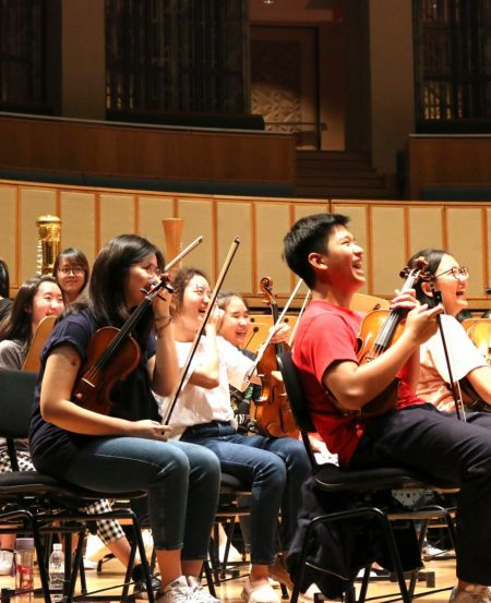Rehearsal time at the Esplanade Concert Hall