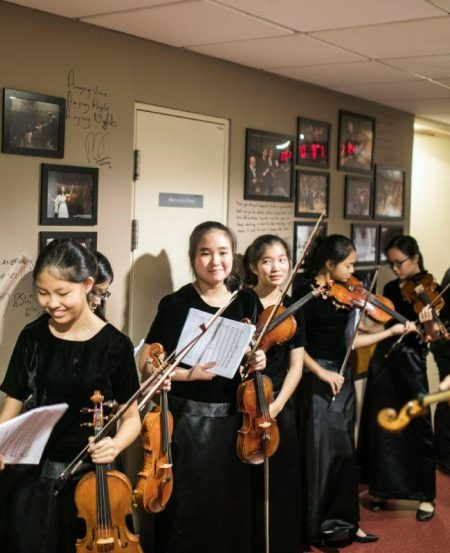 Getting ready to go on stage at the Esplanade Concert Hall