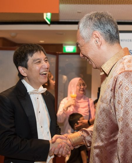 Maestro Lan Shui and PM Lee Hsien Loong at the SSO 40th Anniversary Gala
