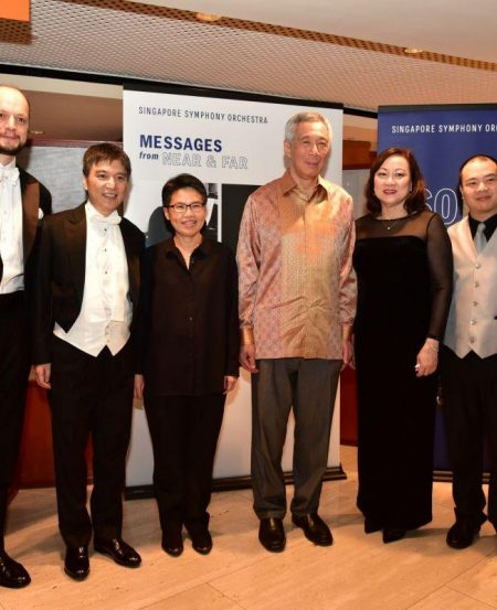 [L-R] SSO Concertmaster Igor Yuzefovich, Maestro Lan Shui, SSO musician Lim Shue Chern, Prime Minister Lee Hsien Loong, SSO Co-Concertmaster Lynnette Seah & pianist Lim Yan