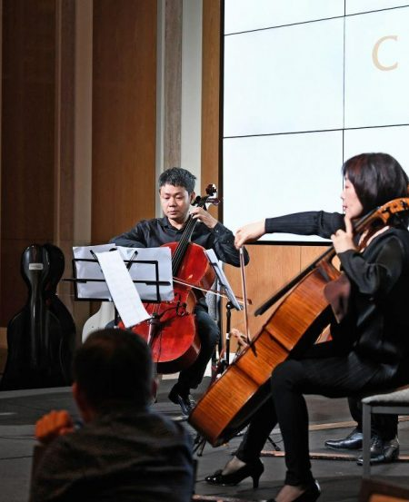 The four cellists played a Serenade by Goltermann, Shostakovich Waltz No.2, A Day in Paris and Crossroads by Singaporean composer Low Shao Ying.