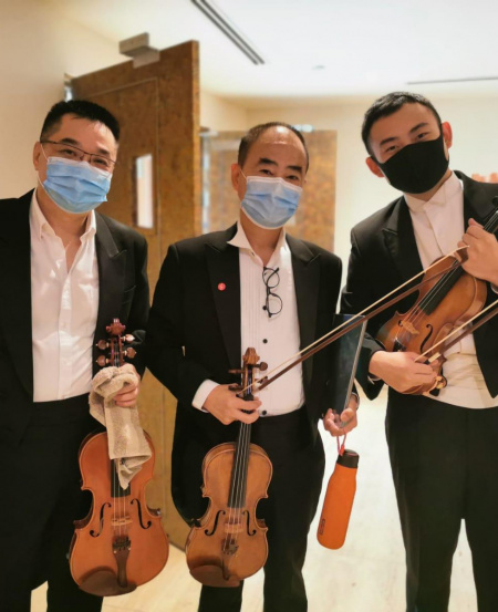 The orchestra was split into teams and filmed in separate locations at the Esplanade, in accordance to safe distancing guidelines.
