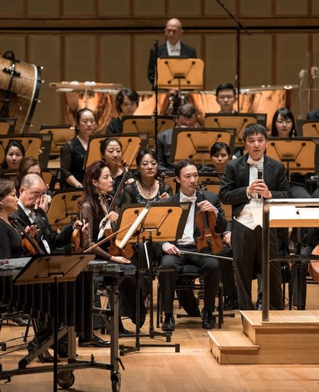 Music Director Lan Shui addressing the audience at the start of the concert. (Photo Credit: Jack Yam)