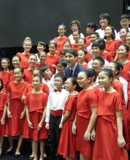 Canadian Prime Minister Justin Trudeau comes backstage to congratulate the Singapore Symphony Children's Choir