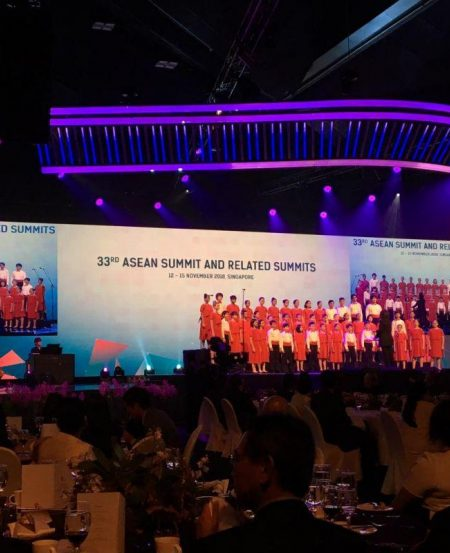 Singapore Symphony Children's Choir on stage for the closing performance for the ASEAN Summit gala dinner