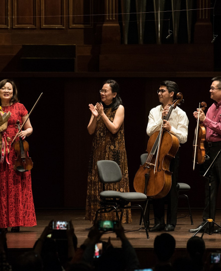 Lynnette and fellow SSO musicians performed Fauré's Piano Quartet No.1. At the end of the concert, there were multiple curtain calls and bouquets for Lynnette.
