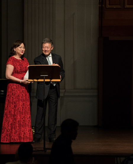 Lynnette is invited onstage by SSG Chairman Goh Yew Lin at the start of the concert.