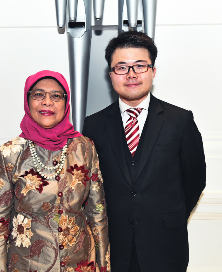 President's Young Performer Kevin Loh with President Halimah Yacob. The President's Young Performers Concert began in 2001 and has grown into a major platform to showcase Singapore's young and promising musical talents, many of whom have gone on to pursue successful careers in music, both locally and overseas.