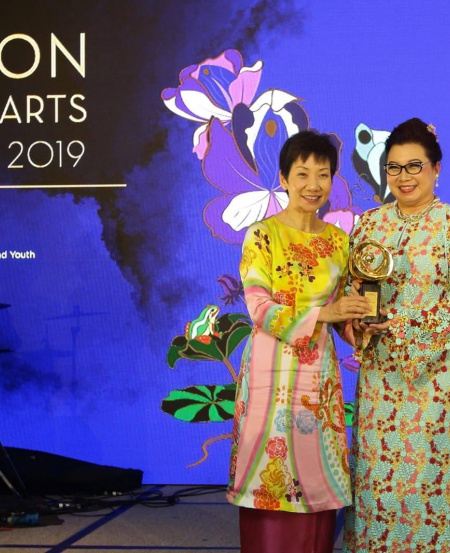 Minister for Culture, Community and Youth, Grace Fu with Ms Kris Tan, a member of the Singapore Symphony Orchestra Ladies' League, at the National Arts Council Patron of the Arts Awards 2019 ceremony.
