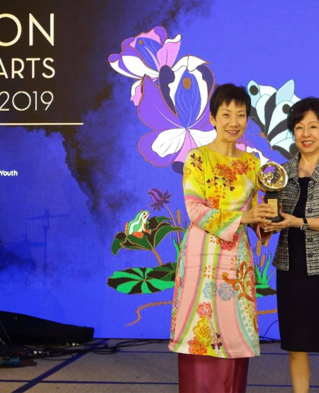 Minister for Culture, Community and Youth, Grace Fu, with Mrs Rosy Ho, member of the Singapore Symphony Orchestra Ladies' League, at the National Arts Council Patron of the Arts Awards 2019 ceremony.