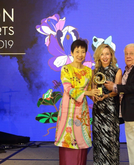 Minister for Culture, Community and Youth, Grace Fu, with Ms Paige Parker member of the Singapore Symphony Orchestra Ladies' League, & Mr Jim Rogers at the National Arts Council Patron of the Arts Awards ceremony 2019.