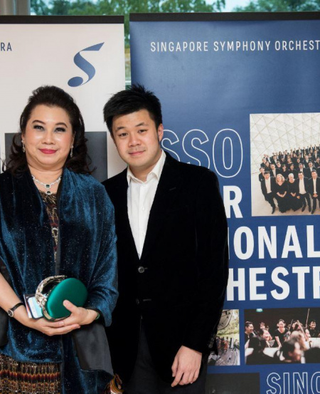 Ms Kris Tan at the SSO 40th anniversary concert in January 2019, with son Mr Lim Kang Wei.