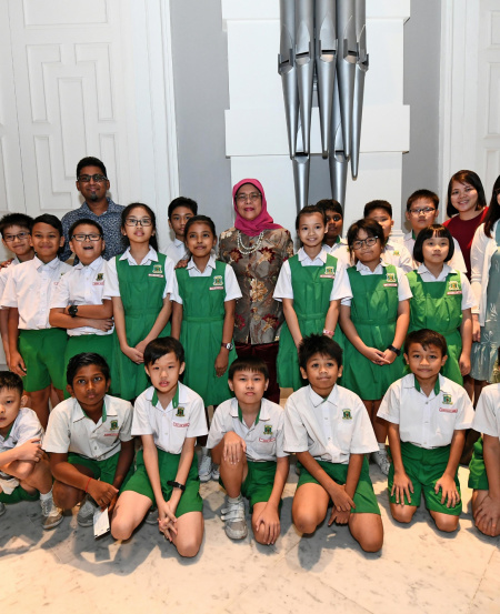 Students from Bukit Panjang Primary School (pictured here with President Halimah) also attended the concert with complimentary tickets from the SSO. These are made possible through the generous support of donors like Swire, Santa Lucia and Keppel Corporation.