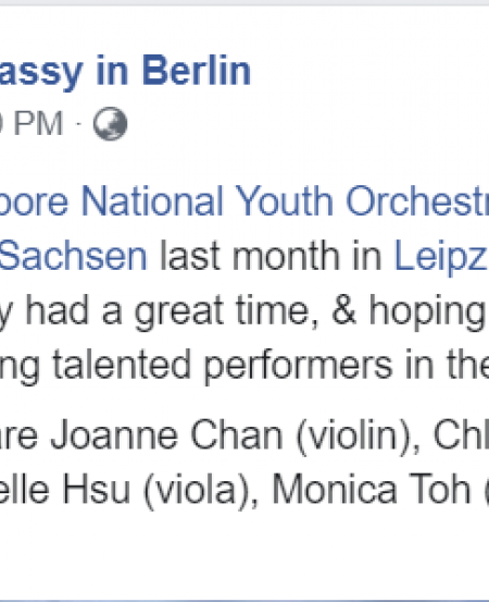 The Singapore Embassy in Berlin gave a nice Facebook shoutout to the visiting musicians.